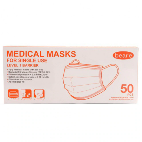 Beare Disposable Face Mask Level 1 Barrier 3-Ply 50 Pack