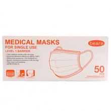 Load image into Gallery viewer, Beare Disposable Face Mask Level 1 Barrier 3-Ply 50 Pack