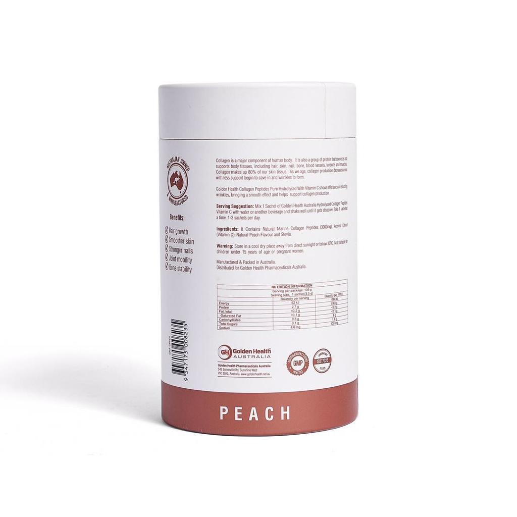 Golden Health Collagen Peptides Powder Peach 30 x 3.5g Sachets