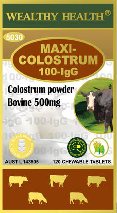 Wealthy Health Maxi Colostrum 100-IgG 120 Chewable Tablets