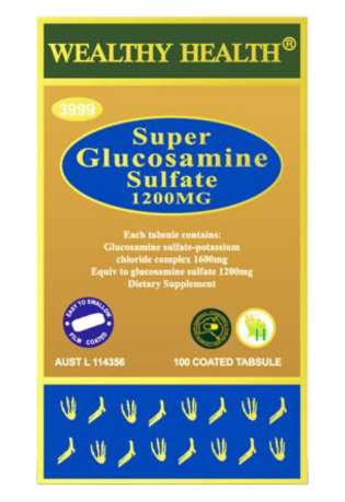 Wealthy Health Super Glucosamine Sulphate 1200mg 100 Tablets