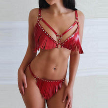 Load image into Gallery viewer, Bold and sexy harness set for women with fringes. Ideal for a crazy party. Top 2020