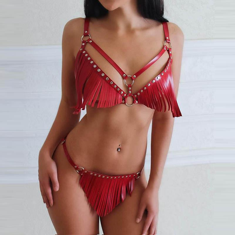 Bold and sexy harness set for women with fringes. Ideal for a crazy party. Top 2020