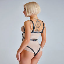 Load image into Gallery viewer, Spectacular blonde with caged harness all the front from neck to hip and the back just two that come out above the buttocks plus two that surround the back.