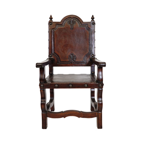 Carved Leather Spanish Revival Chair