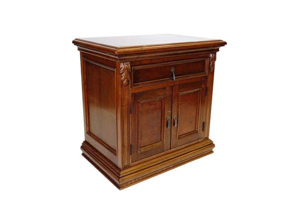 villa Spanish Revival nightstand hand carved wood angle