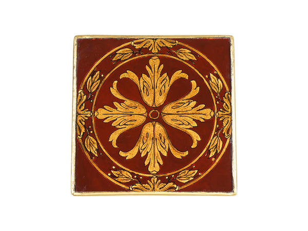 via romani verre eglomise reverse glass painted coaster