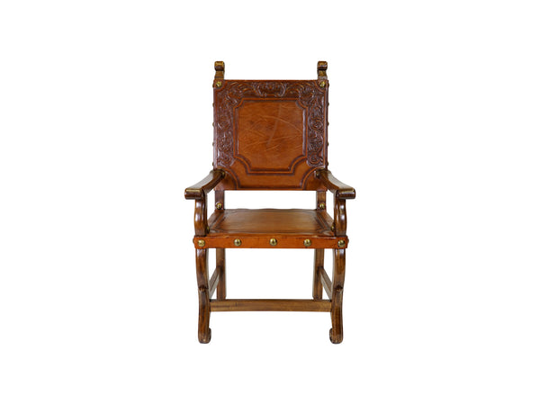 via Romani Spanish Revival colonial tooled leather armchair
