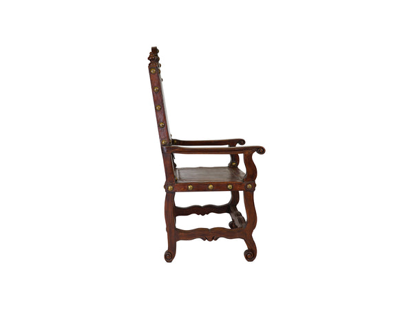 via romani Portuguese hand-tooled leather armchair