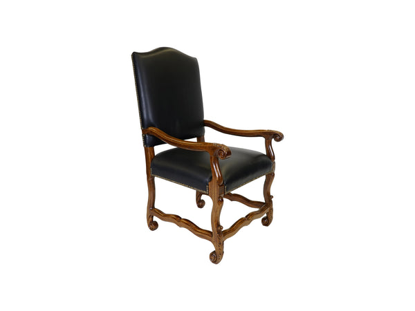 Valentino Tuscan style leather upholstered armchair angle