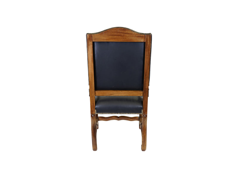 Valentino Tuscan style leather upholstered armchair back