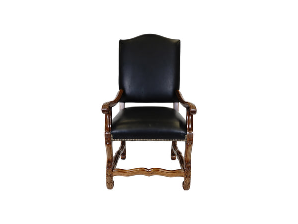 Valentino Tuscan style leather upholstered armchair