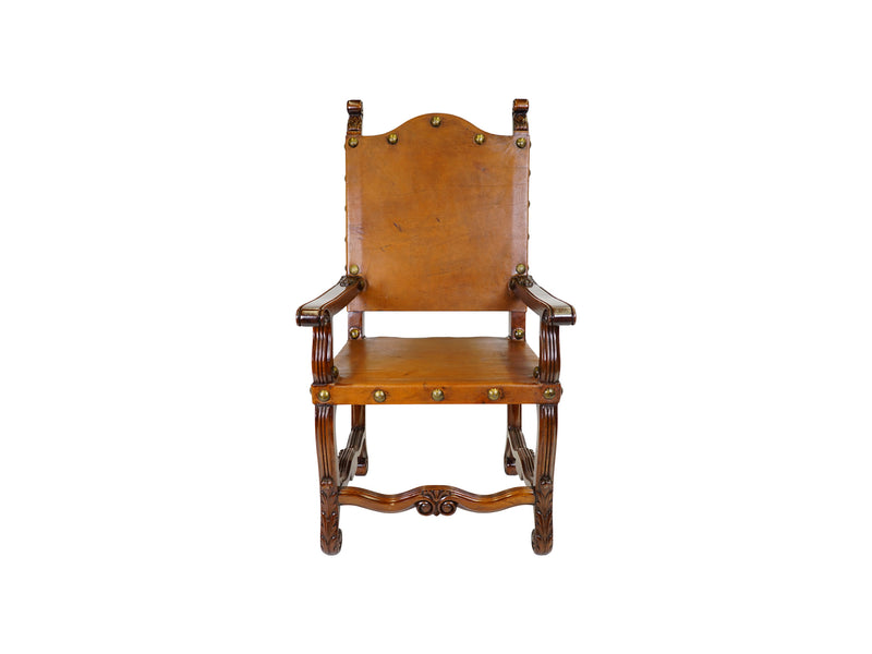 villa leather armchair spanish revival style