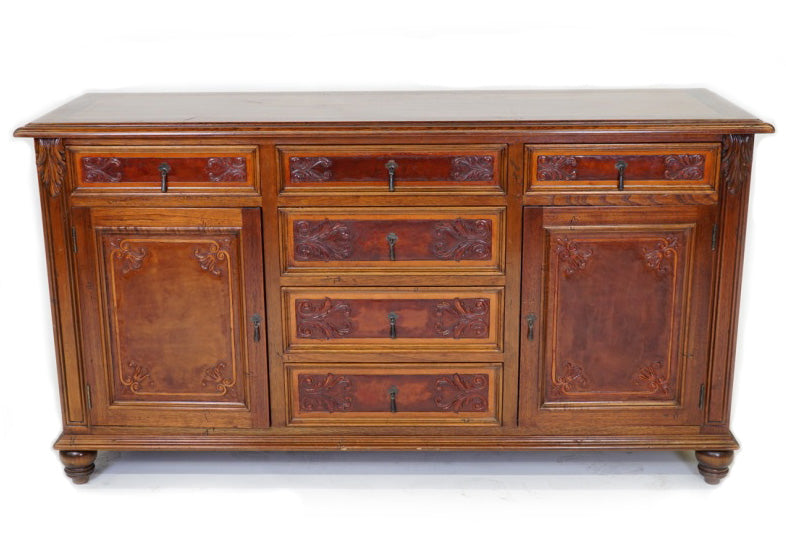 villa buffet spanish revival tuscan style leather