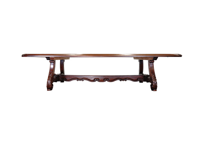 villa spanish revival dining table carved trestle