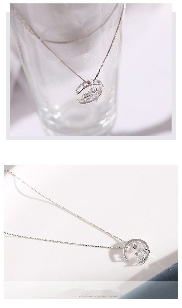 Cat Necklace - Silver Plated Moon Cat Necklace
