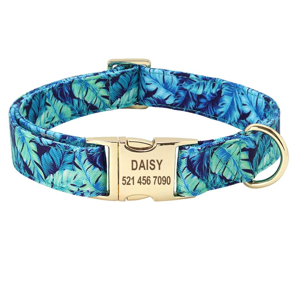 Dog Collar - Personalized Printed Dog Collar Leash - Free Engraved Nameplate