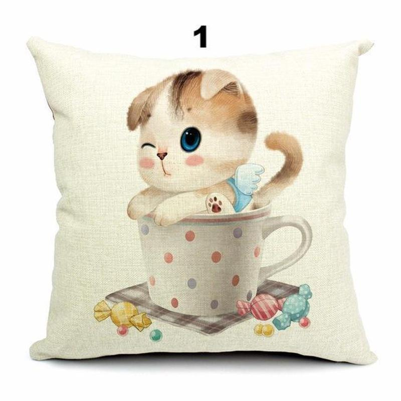Pillow Cover - 3D Retro Teacup Cat Cushion Covers