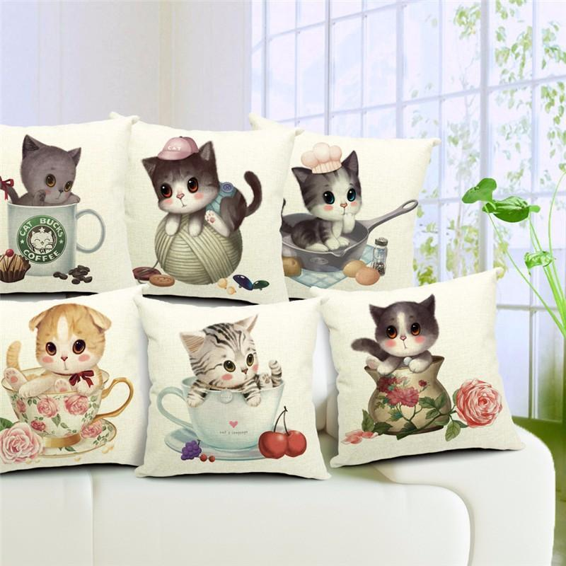 Pillow Cover - 3D Retro Teacup Cat Cushion Covers - FREE!