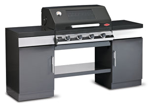 1100E Series Outdoor Kitchen - 4 Burner BBQ with 2 Cupboards and Bottom Shelf