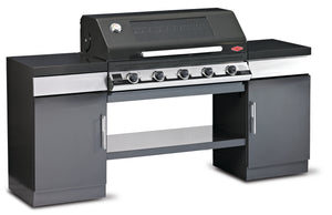1100E Series Outdoor Kitchen - 5 Burner BBQ with 2 Cupboards and Bottom Shelf