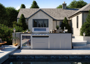Profresco Signature Outdoor Kitchen - 5 Burner 3000s  Series BBQ, Quatro Pack with Single Fridge
