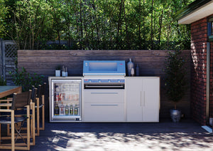 Profresco Signature Outdoor Kitchen - 4 Burner 3000S Series BBQ, Trio Pack with Single Fridge