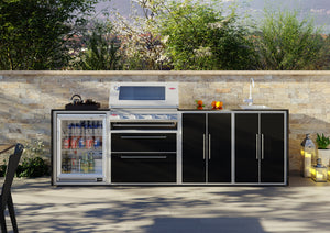 Profresco Signature Outdoor Kitchen - 4 Burner 3000s  Series BBQ, Quatro Pack with Single Fridge