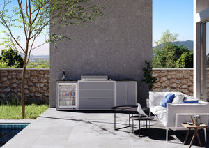 Profresco Signature Outdoor Kitchen - 6 Burner Proline Series BBQ, Trio Pack with Single Fridge