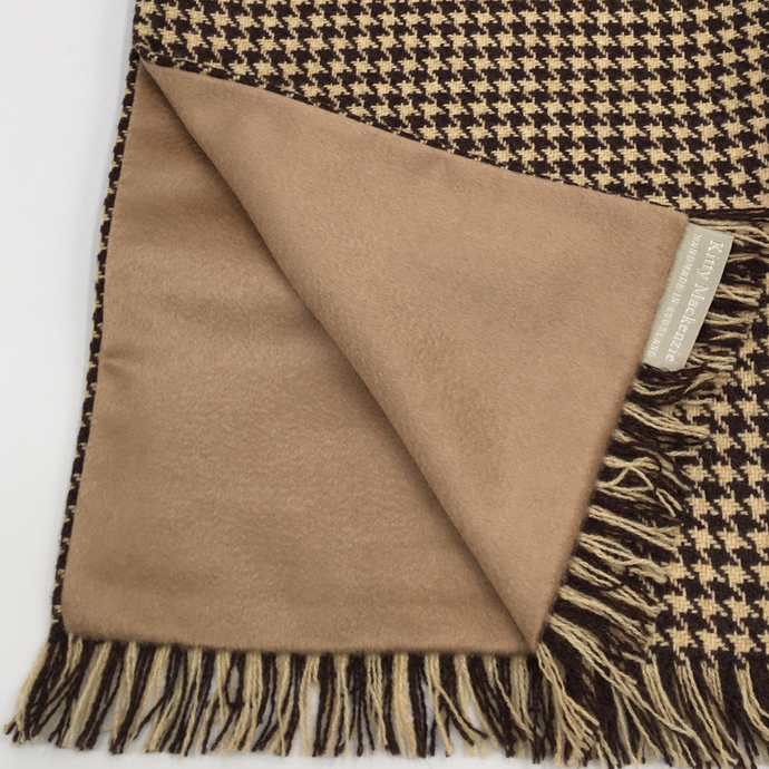 Camel houndstooth and cashmere scarf