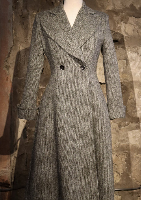 Harris Tweed Edith Coat Grey Herringbone