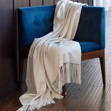 Load image into Gallery viewer, Araminta Campbell Willow Throw White alpaca