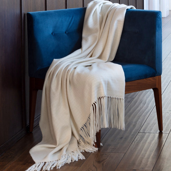 Araminta Campbell Willow Throw White alpaca
