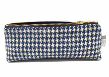 Load image into Gallery viewer, Harris tweed pencil case in blue houndstooth