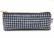 Load image into Gallery viewer, Harris Tweed Pencil Case Blue Houndstooth