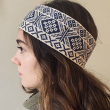 Load image into Gallery viewer, blue and white headband, Fair Isle