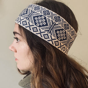 blue and white headband, Fair Isle