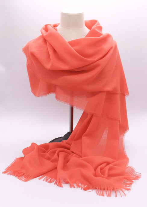 Cashmere Summer Stole, coral