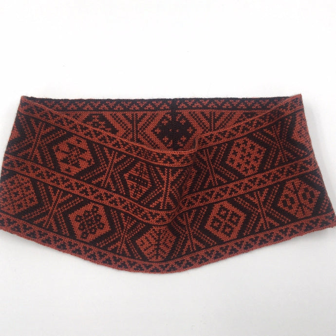 Headband, Fair Isle Black and Red