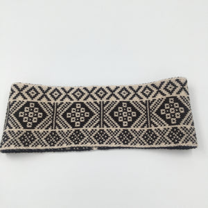 Headband, Fair Isle Black and White, thick