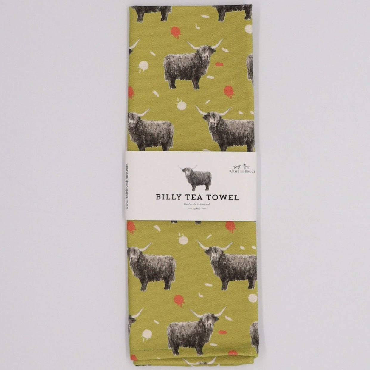 Highland Cow Tea Towel, Citrus