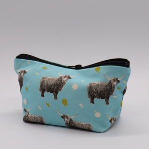 Highland Cow Make Up Bag, Duck Egg  blue