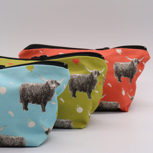 Highland Cow Make Up bags