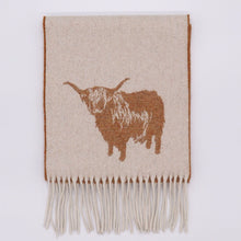 Load image into Gallery viewer, Highland Cow Wool Scarf