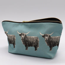Load image into Gallery viewer, Highland Cow Wash Bag, Duck Egg  blue