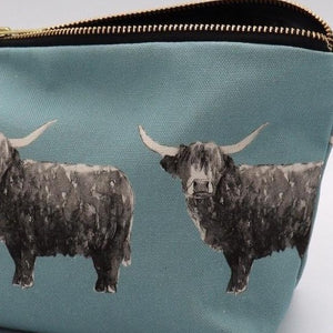 Highland Cow Wash Bag, Duck Egg  blue