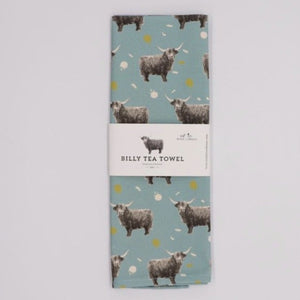 Highland Cow Tea Towel, Duck Egg