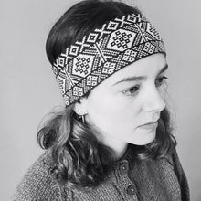 Load image into Gallery viewer, black and white headband Shetland Design