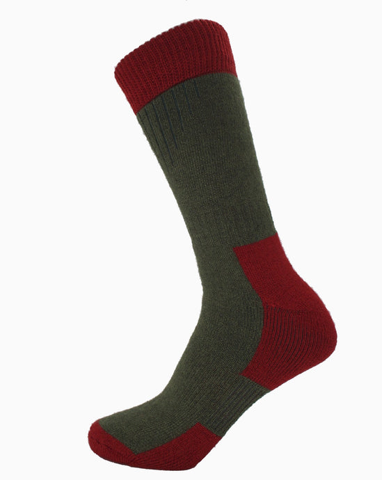 Mens Glen Socks Merino Wool  Spruce/Red