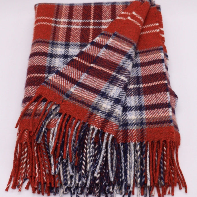 red plaid cashmere throw